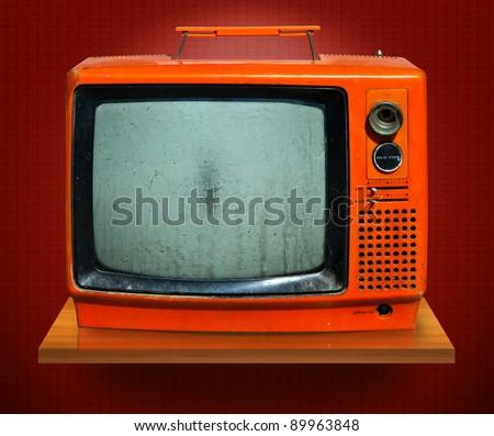 Retro, the old television - stock photo