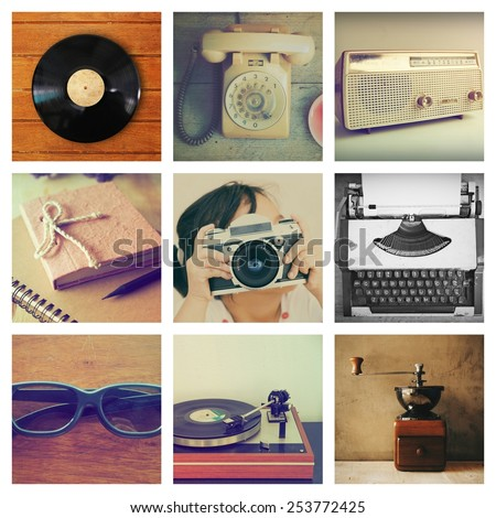 retro things set collage in vintage color - stock photo