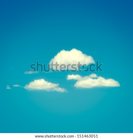 Retro tone background with clouds - stock photo