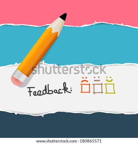 Retro Torn Paper. Feedback Background with Pencil. - stock photo