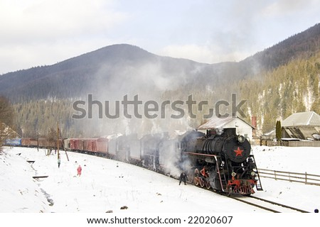 Retro Tour with steam locomotives (L, Em, Er)  in the Carpathians at February of 2008.