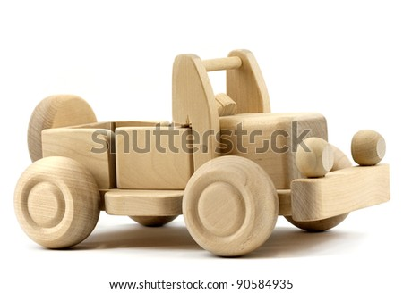 Retro toy car isolated on white background - stock photo