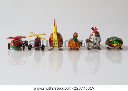 Retro toy on a white background - stock photo