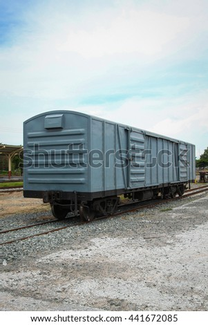Retro train for travel, train station for support passenger, train for logistic industry or cargo transfer, transportation business for passenger and cargo, old train instead with high speed train. - stock photo