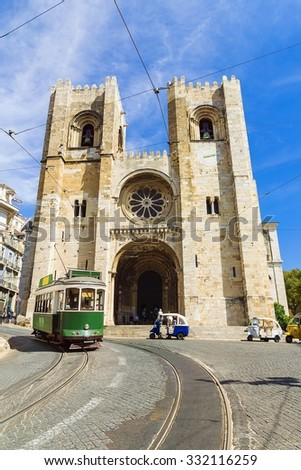 retro tram on the street in Lisbon, Portugal - stock photo