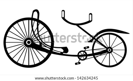 retro tricycle bike on white background