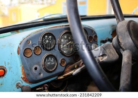 Retro truck dashboard - stock photo