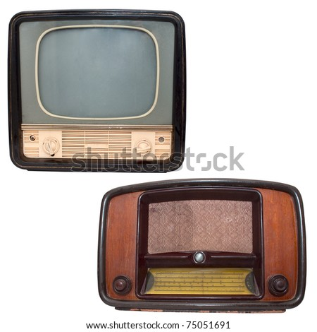 Retro TV and radio on a white background - stock photo