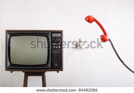 Retro TV and radio phone. - stock photo