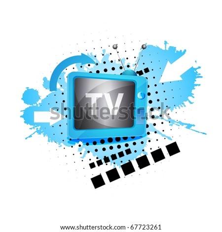 Retro TV background. Raster image - stock photo