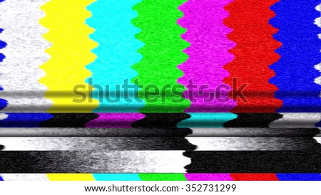 Retro TV color bars malfunction with TV snow and pixelation. - stock photo