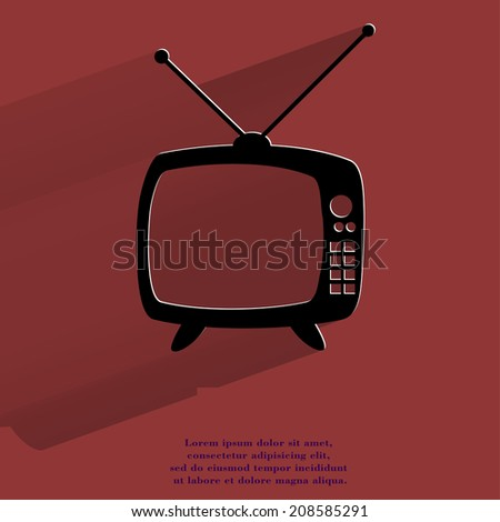 Retro tv. Flat modern web button with long shadow and space for your text. . - stock photo