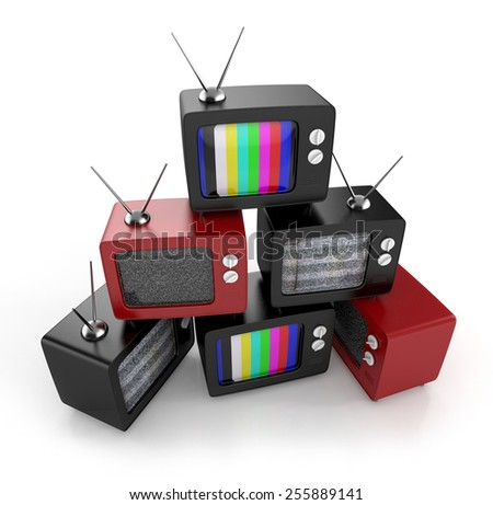 retro tv. heap. 3d illustration - stock photo