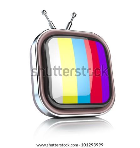 Retro TV icon - stock photo
