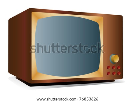 retro tv icon - stock photo