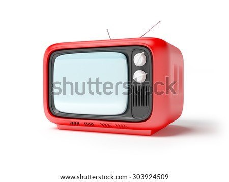 retro tv in seventies style isolated on white - stock photo