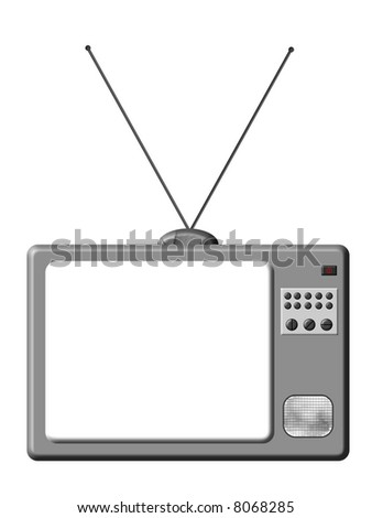 Retro TV is a illustration of grey TV set isolated. - stock photo