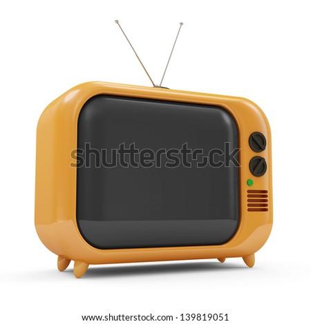 Retro TV isolated on white background - stock photo