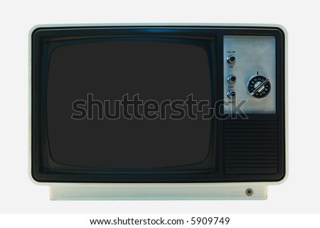Retro TV - Isolated with Clipping Paths: File contains two clipping paths. One for the outline and one for the screen itself - stock photo