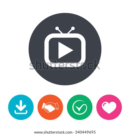 Retro TV mode sign icon. Television set symbol. Download arrow, handshake, tick and heart. Flat circle buttons. - stock photo