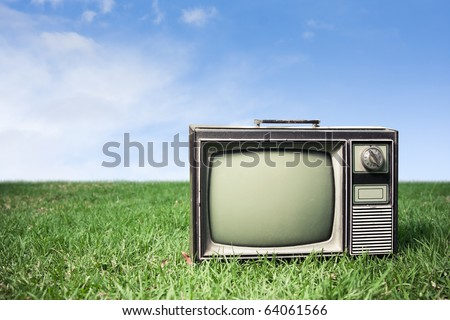 retro tv on grass - stock photo