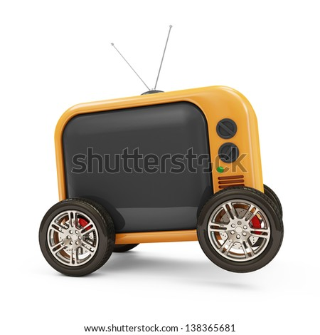 Retro TV on Wheels isolated on white background - stock photo