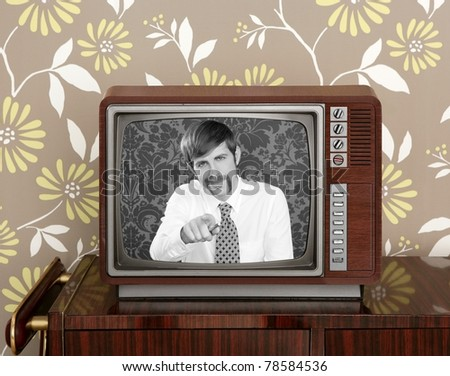retro tv presenter mustache man wood television wallpaper [Photo Illustration] - stock photo