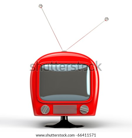 Retro TV set isolated on a white background.