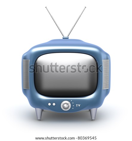 Retro TV Set. Isolated on white background. My own design - stock photo