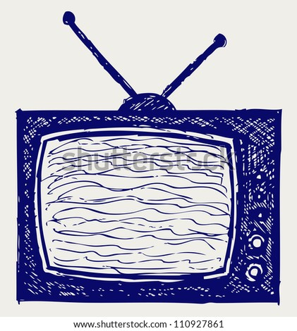 Retro TV set. Raster - stock photo