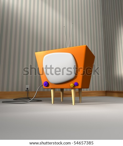Retro Tv with a cartoon look inside a room - stock photo