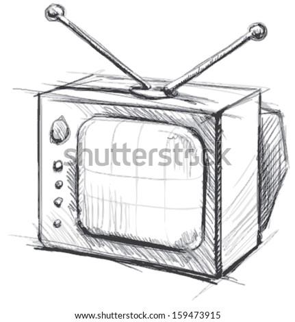 Retro tv with antenna - stock photo