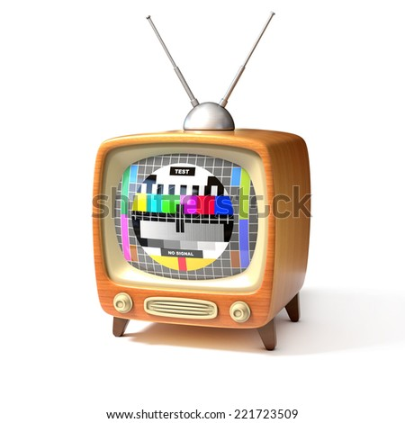 retro tv with test screen 3d illustration  - stock photo
