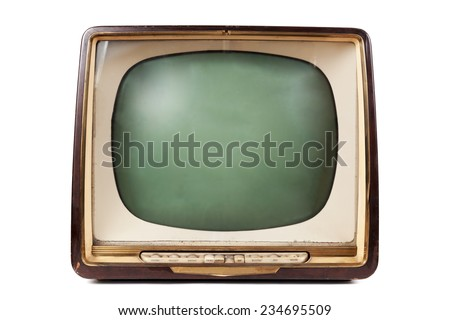 Retro TV with wooden case  - stock photo