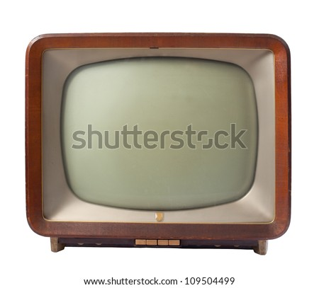 retro tv with wooden case isolated on white background