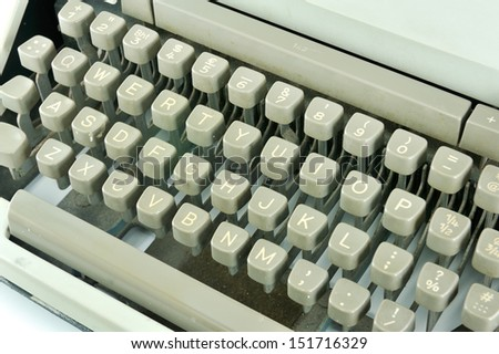 retro typewriter keyboard - stock photo
