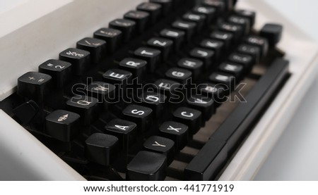 retro typewriter keys close up