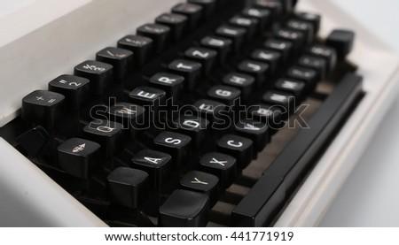retro typewriter keys close up - stock photo