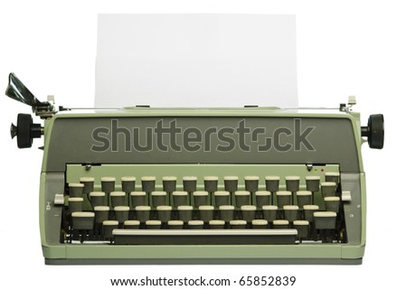 Retro typewriter with blank paper isolated on white background - stock photo