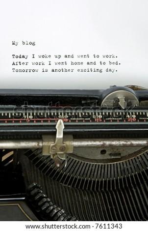 Retro typewriter with mundane blog - stock photo