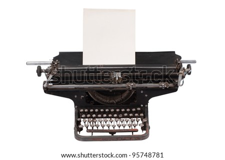 retro typewriter with with a blank sheet of paper  isolated on white background - stock photo