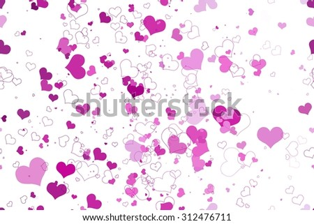 Retro valentine seamless pattern with hearts. seamless pattern of hearts on a white background. Raster version - stock photo