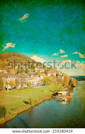 Retro view to old town of Heidelberg, Germany  - stock photo