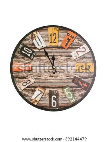 Retro, vintage clocks isolated on white - stock photo