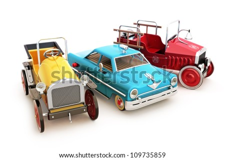 Retro vintage collection of toy cars on a white background. - stock photo