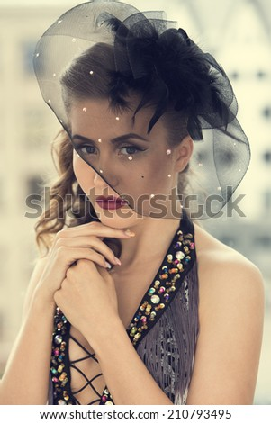 Retro, vintage. Cute girl in beautiful dress - stock photo