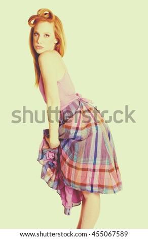 Retro vintage fashion model woman - stock photo
