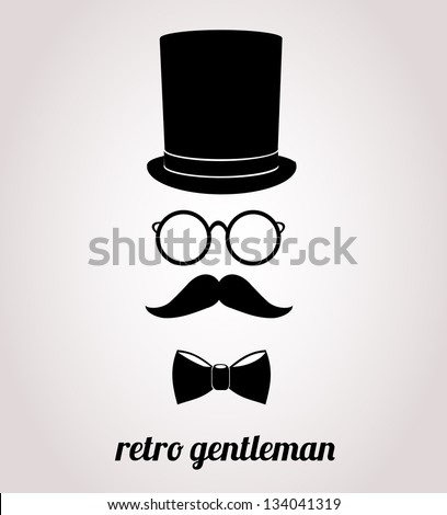 Retro, vintage gentleman accessories isolated on bright background. - stock photo
