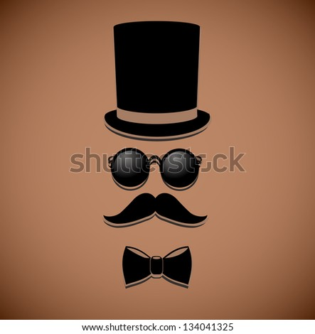 Retro, vintage gentleman accessories on elegant, brown background. - stock photo
