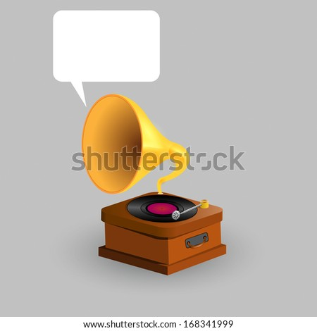 Retro Vintage Gramophone with speech bubble illustration
